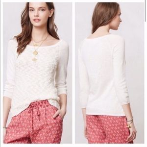 Anthro Yellow Bird Cream Textured Sweater